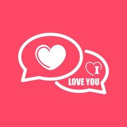 I Love You Comments white icon on magenta color background. Eps-10.