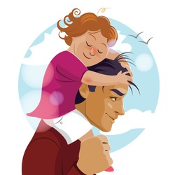 I love you, Daddy. Father Day. Pop carries his daughter on his shoulders. Vector illustration