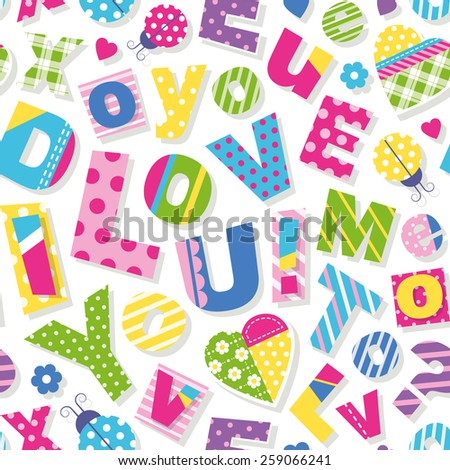 I Love You Do You Love Me Too Pattern Stock Vector ...