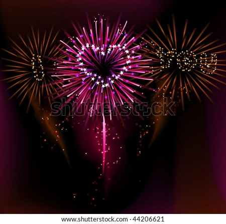 stock vector : i love you fireworks ( vector illustration)