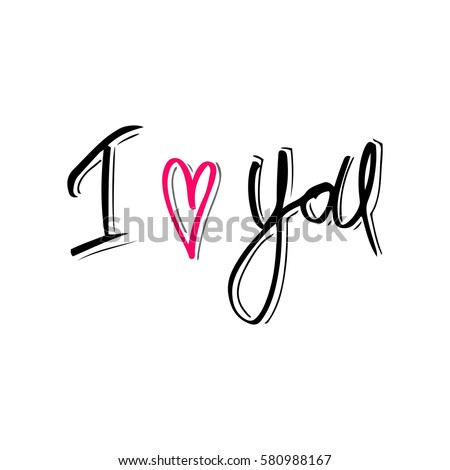 Shutterstock I love you. Hand drawn typography poster. Inspirational and motivational handwritten quote. Creative lettering with heart for poster or greeting cards. Vector illustration