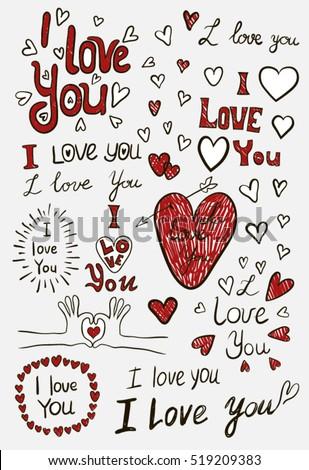 i love you  handwritten sketches