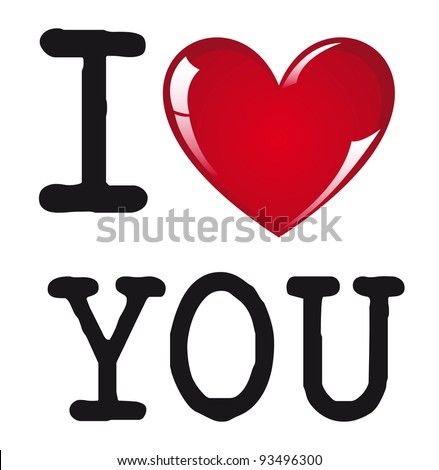 love you message on white background, vector illustration - stock ...