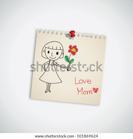 I love you mom with flower on note paper vector - stock vector