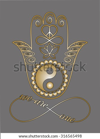 I love you note Love card Unity concept Mystic spiritual symbols Gold lines tattoo set: Buddha hand, Ying Yang symbol, Lotus flower, Infinity sign, Peace and love symbol, Metallic gold and black lines