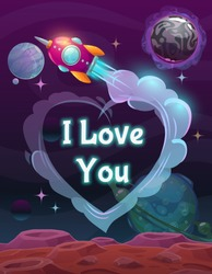 I Love You sign on the space background. Valentines Day greeting card. Vector cosmic illustration.