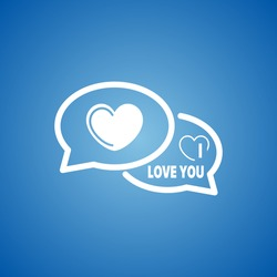 I Love You Speech Bubble Icon on blue color.
