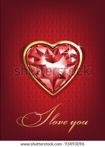 I love you Valentine's Day Greeting card, vector illustration