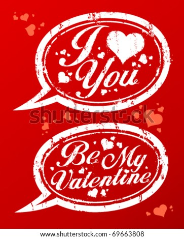 I love you Valentine`s rubber stamps in form of speech bubbles.