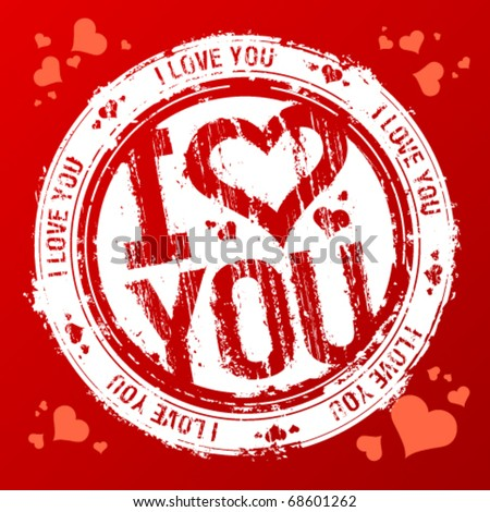 i love you vector rubber stamp