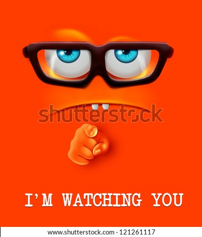 i'm watching you face vector