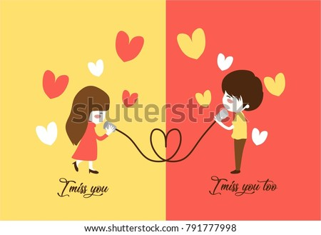 i miss you illustration of a