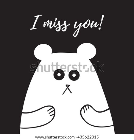 i miss you lettering  card with