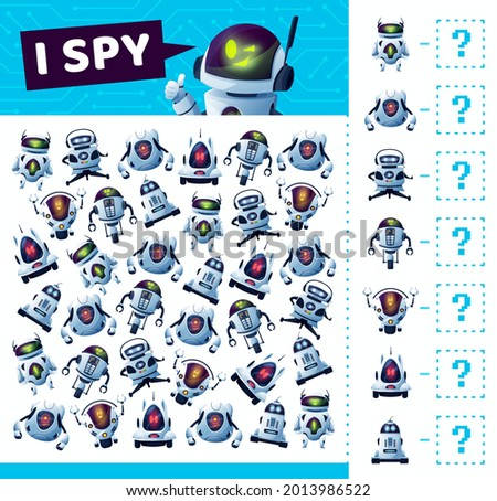 I spy game with robots and androids or bots, vector cartoon find and match board game. Kids tabletop puzzle or guess game riddle, I spy or find similar futuristic robots and android bots