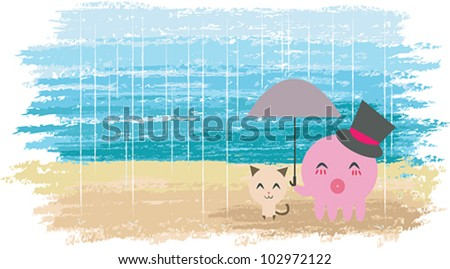 I will always be here for you. An Octopus is holding umbrella for a little kitten. Cute couple with watercolor background.