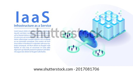 IaaS infrastructure as a service cloud computing concept. 3d isometric vector illustration as horizontal banner. IT infrastructure connected via the cloud.
