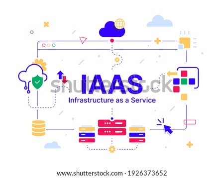IaaS - Infrastructure as a Service. Code line of programming internet application. Cloud software on computers with program code on the screen, infographic elements icon, app, virtual screens on white