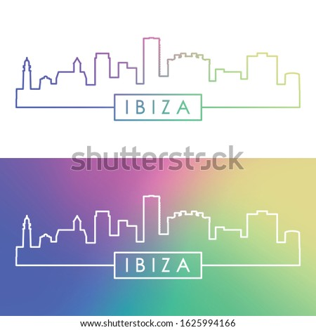 Ibiza skyline. Colorful linear style. Editable vector file.