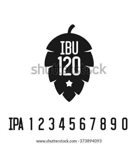 IBU index logo. Hop pine black silhouette with bitterness mark abbreviation.