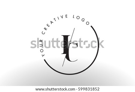 IC Letter Logo Design with Creative Intersected and Cutted Serif Font. #599831852