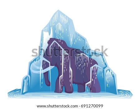 Ice Age Animal Illustration Featuring a Large Woolly Mammoth Frozen Solid