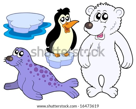 Ice animals collection - vector illustration.