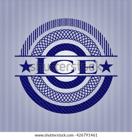 Ice badge with jean texture