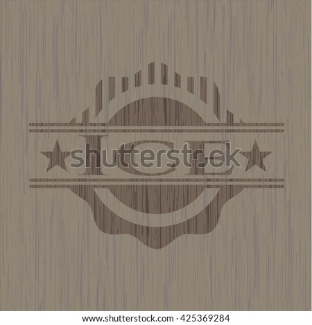 Ice badge with wood background