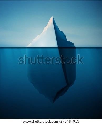 Ice berg on water concept vector background, eps 10