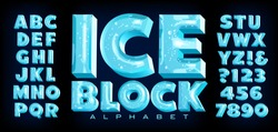 Ice Block alphabet; a vector font with 3d ice effects complete with reflections, transparency, trapped bubbles and other realistic detailing. This lettering has the cool frozen look of ice cubes.