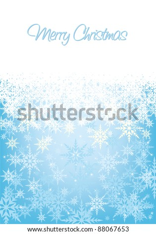 Ice blue Christmas background with space for text, all elements on separate layers