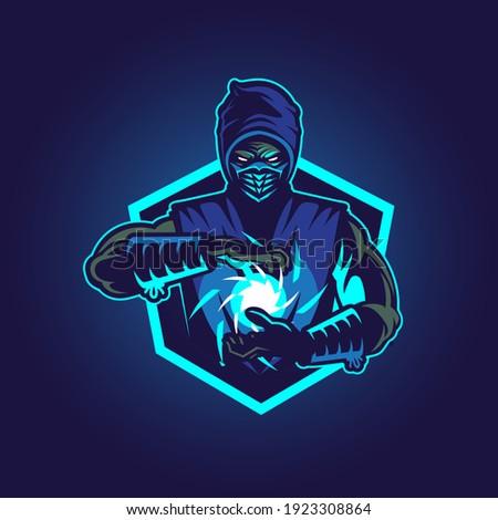 ice blue ninja vector