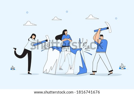 Ice breaking or icebreaker activity, game and event. Vector artwork of a group of people using sledgehammer to break a large ice. Concept of knowing each member and warm up for participants meeting. Stockfoto ©