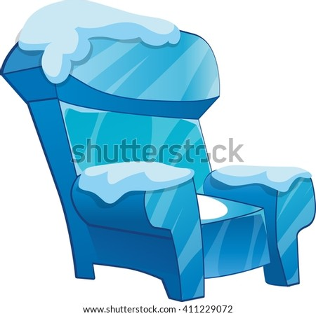 ice chair with snow cartoon