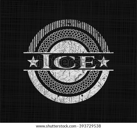 Ice chalkboard emblem on black board