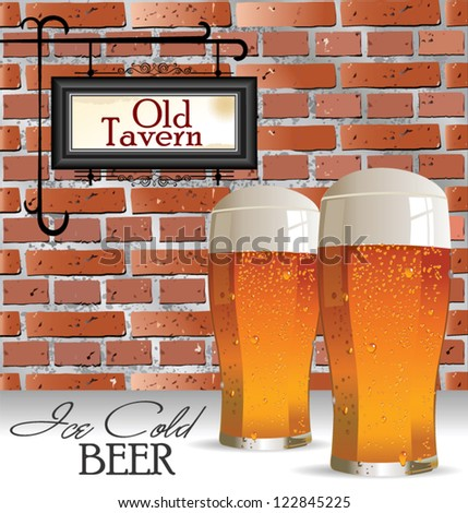 Ice cold beer background, old tavern or pub