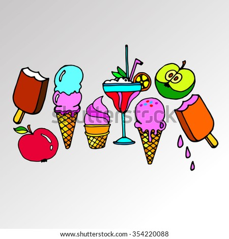 ice cone vector snack summer cold dessert