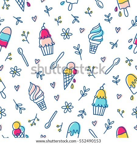 Ice cream and botanical seamless pattern
