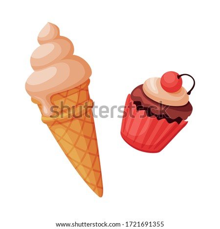 ice cream and cupcake  sweet