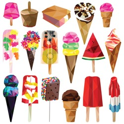 Ice cream and popsicle set colorful low poly designs isolated on white background.