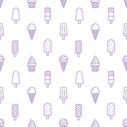 Ice cream background, sweet food seamless pattern. Vanilla icecream, frozen yogurt, popsicle lolly line icons. Summer dessert colorful vector illustration purple white color.