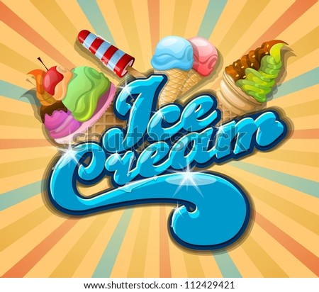 ice cream background, vintage vector