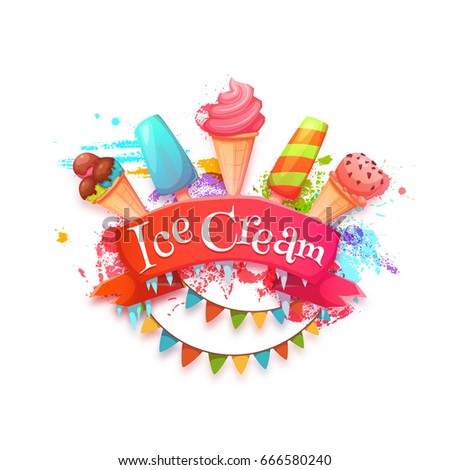 ice cream banner with red