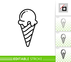 Ice cream big ball in wafer cone. vanilla, chocolate, sweet dessert sign. single fruit yogurt icecream black line icon. Close vector illustration isolated on white