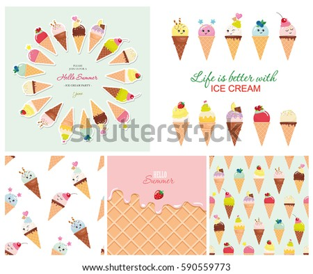 Free Flat Design Vector Ice Cream Pattern Background - Download Free ...