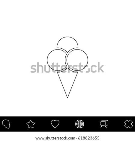 ice cream black outline vector