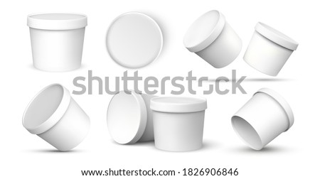 Ice cream buckets. Realistic blank white mockup of ice cream paper food container in different views. Vector isolated illustration empty 3D template for packaging presentation Photo stock ©