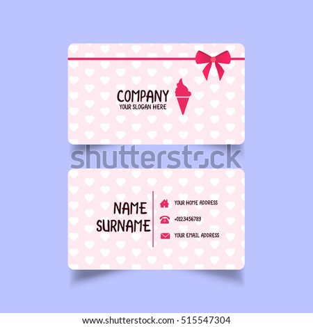 ice cream business card