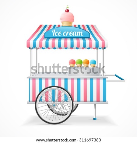 Ice Cream Cart Market Card Isolated on White Background. Vector illustration