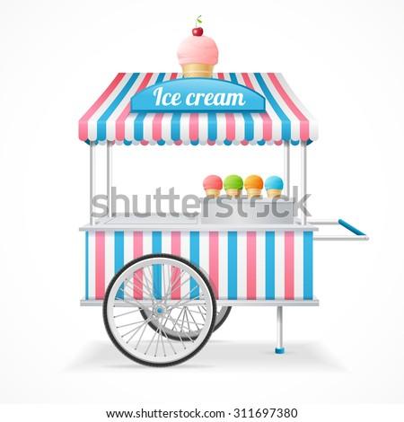 Ice Cream Cart Market Card Isolated on White Background. Vector illustration